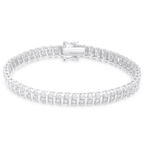 Finesque Gold Over Silver or Sterling Silver 1 1/2 ct TDW Diamond Bracelet