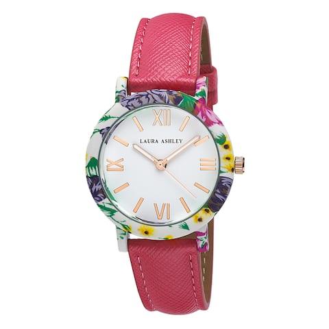 Laura Ashley Women's Band Floral Bezel Watch - Pink