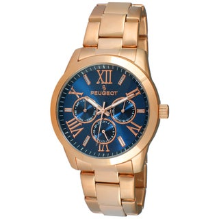 Peugeot Women's Rose Goldtone Blue Dial Boyfriend Stainless Steel Watch