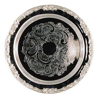 Elegance Romantica 15-inch Round Silver Plated Tray