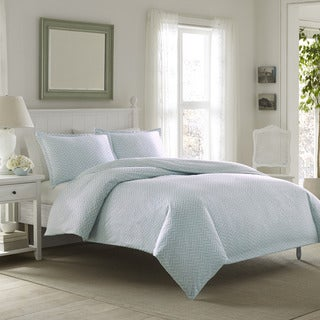 Laura Ashley Chevron Flannel 3-piece Duvet Cover Set