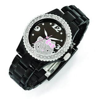 Versil Hello Kitty Women's Black Dial Crystal Bezel Acrylic Watch