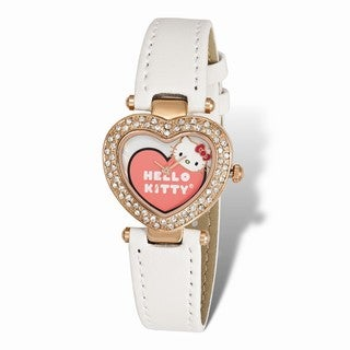 Versil Hello Kitty Women's Pink IP-plated Heart Case Crystal Bezel Watch - White