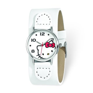 Versil Hello Kitty Women's White Dial Red Bow White Faux Leather Watch