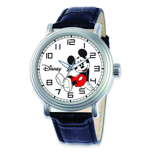 Versil Disney Women's Black Leather Strap Mickey Mouse Watch