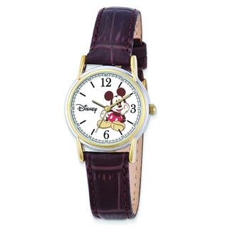 Versil Disney Women's Brown Leather Strap Mickey Mouse Watch|https://ak1.ostkcdn.com/images/products/10584856/P17659711.jpg?_ostk_perf_=percv&impolicy=medium