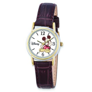 Versil Disney Women's Brown Leather Strap Mickey Mouse Watch|https://ak1.ostkcdn.com/images/products/10584856/P17659711.jpg?impolicy=medium