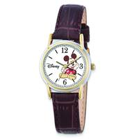 Versil Disney Womens Brown Leather Strap Mickey Mouse Watch