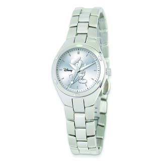 Versil Disney Women's Stainless Steel Round Silver Dial Mickey Mouse Watch|https://ak1.ostkcdn.com/images/products/10584859/P17659714.jpg?impolicy=medium