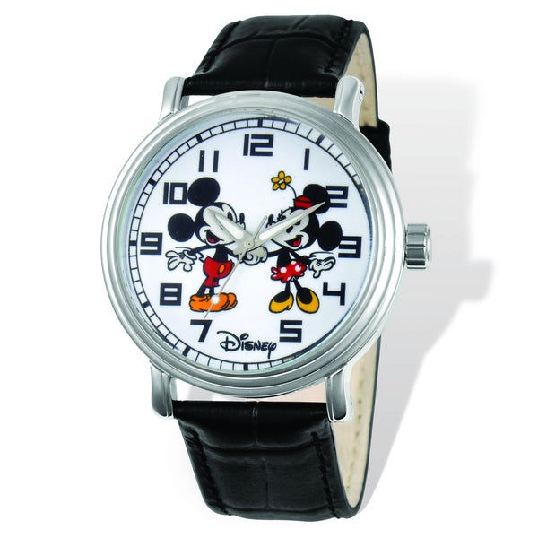Versil Disney Women's Mickey and Minnie Black Leather Watch