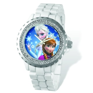 Versil Disney Women's Frozen White Bracelet Crystal Bezel Watch
