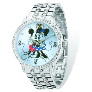 Versil Disney Women's Mickey and Minnie Silvertone Bracelet Watch - White