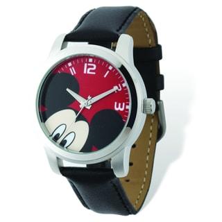 Versil Disney Women's Mickey Mouse Black Leather Watch