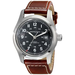 Link to Hamilton Men's H70555533 'Khaki Field' Automatic Brown Leather Watch Similar Items in Men's Watches