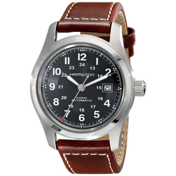 Hamilton Men's H70555533 'Khaki Field' Automatic Brown Leather Watch. Opens flyout.