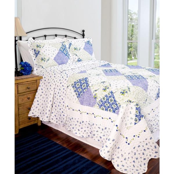 Slumber Shop Wilmington Blue Patchwork Reversible Quilt Set