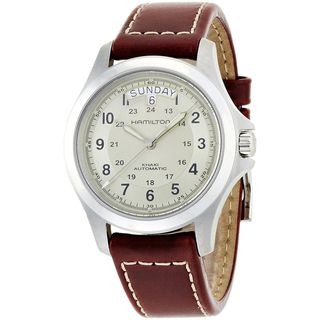 Link to Hamilton Men's H64455523 'Khaki Field King' Automatic Brown Leather Watch Similar Items in Men's Watches