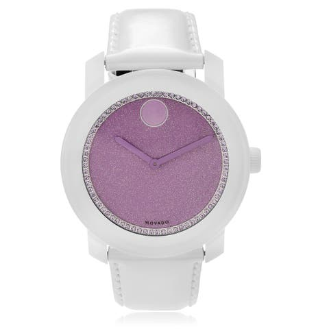 Movado Women's 3600219 'Bold' Crystal White Leather Watch