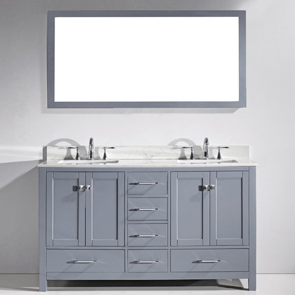 Virtu USA Caroline Avenue 60-inch Double Bathroom Vanity ...