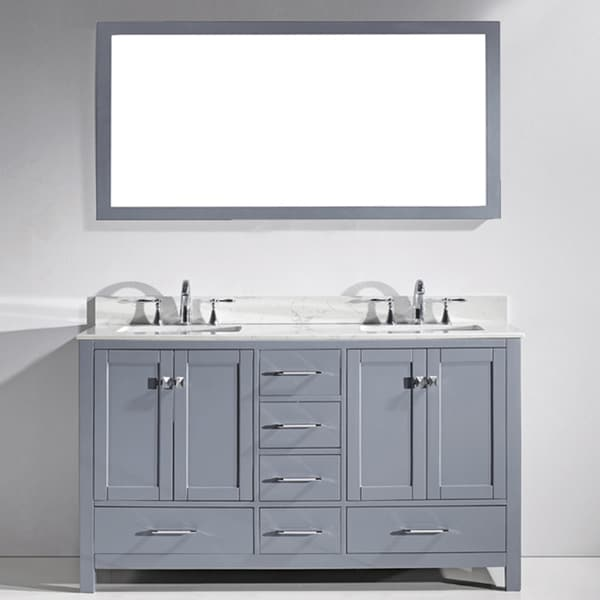43 bathroom vanity top - Caroline Avenue 60 Quot White Marble Round Double Bathroom