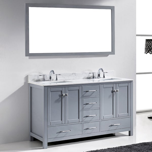 Shop caroline avenue 60 double bathroom vanity cabinet set in grey free shipping today for Caroline 60 inch double sink bathroom vanity set