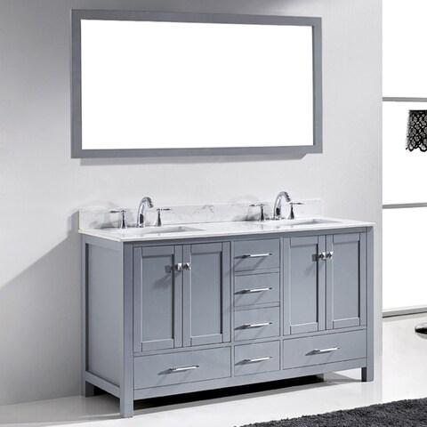 """Caroline Avenue 60"""" Double Bathroom Vanity Cabinet Set in Grey"""