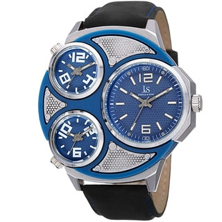 Joshua & Sons Men's Quartz Triple Time Zone Leather Silver-Tone Strap Watch