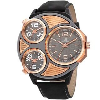 Joshua & Sons Men's Quartz Triple Time Zone Leather Strap Watch