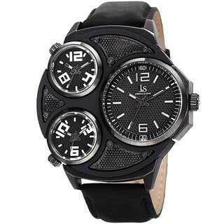 Joshua & Sons Men's Quartz Triple Time Zone Leather Black Strap Watch