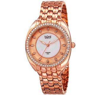 Burgi Women's Quartz Diamond Crystal Rose-Tone Bracelet Watch