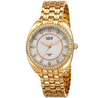 Burgi Women's Quartz Diamond Crystal Gold-Tone Bracelet Watch