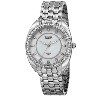 Burgi Women's Quartz Diamond Crystal Silver-Tone Bracelet Watch
