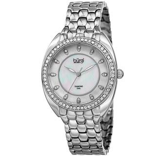 Burgi Women's Quartz Diamond Crystal Silver-Tone Bracelet Watch - Silver