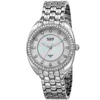 Burgi Women's Quartz Diamond Crystal Silver-Tone Bracelet Watch - silver