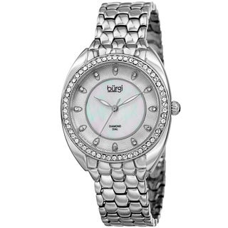 Burgi Women's Quartz Diamond Crystal Silver-Tone Bracelet Watch with FREE Bangle - silver