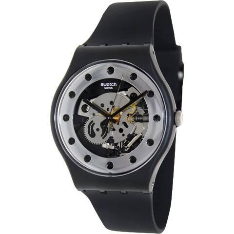 Swatch Unisex SUOZ147 'Silver Glam' Black Silicone Watch