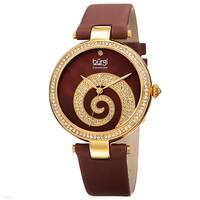 86440c962 Burgi Women's Quartz Diamond Crystal Leather Gold-Tone Strap Watch - brown