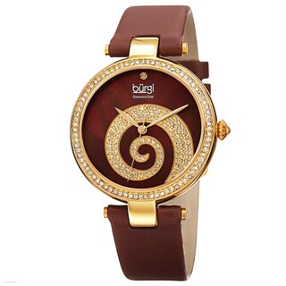 Burgi Women's Quartz Diamond Crystal Leather Gold-Tone Strap Watch - Brown