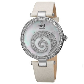 Burgi Women's Quartz Diamond Crystal Leather White Strap Watch with FREE Bangle
