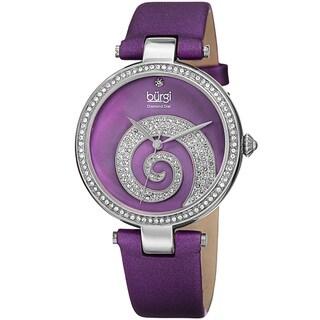 Burgi Women's Quartz Diamond Crystal Leather Purple Strap Watch