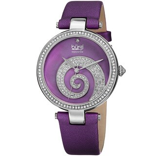 Burgi Women's Quartz Diamond Crystal Leather Purple Strap Watch