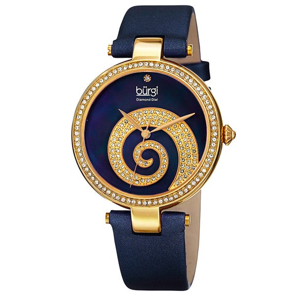 Burgi Women's Quartz Diamond Crystal Leather Blue Strap Watch with FREE Bangle