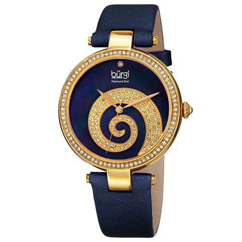 Burgi Women's Quartz Diamond Crystal Leather Blue Strap Watch