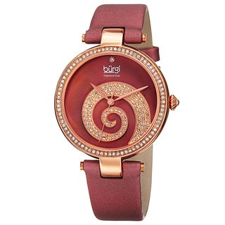 Burgi Women's Quartz Diamond Crystal Leather Strap Watch - RED