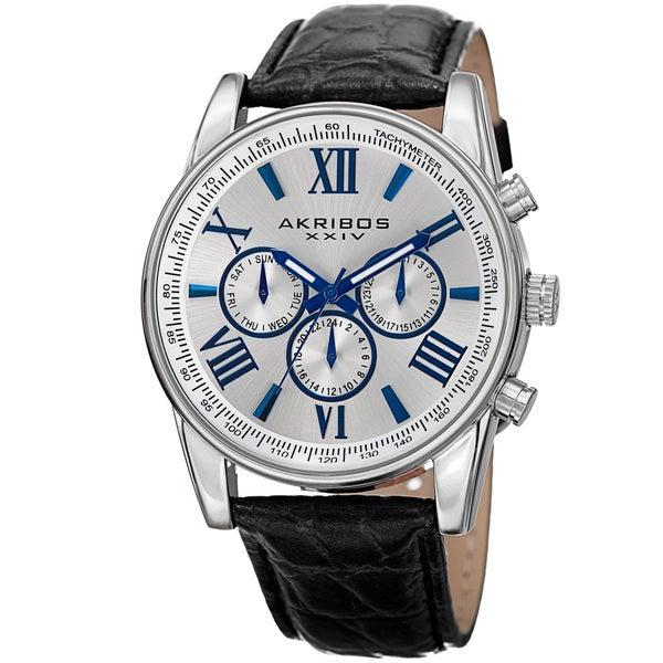 Akribos XXIV Men's Swiss Quartz Multifunction Dual Time Leather Silver-Tone Strap Watch - silver