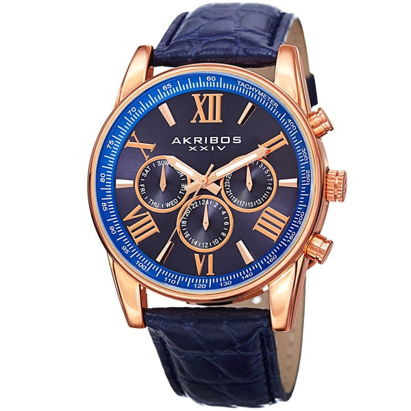 Akribos XXIV Men's Swiss Quartz Multifunction Dual Time Leather Rose-Tone Strap Watch - Blue. Opens flyout.