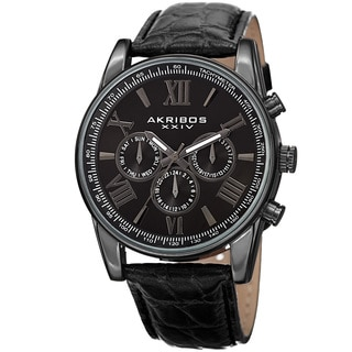 Akribos XXIV Men's Swiss Quartz Multifunction Dual Time Leather Black Strap Watch
