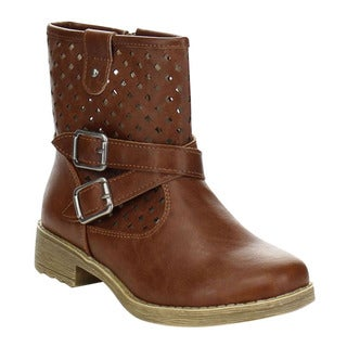 JELLY BEANS DG-03 Girl's Comfort Chunky Cross-criss Strap Hollow-out Boot
