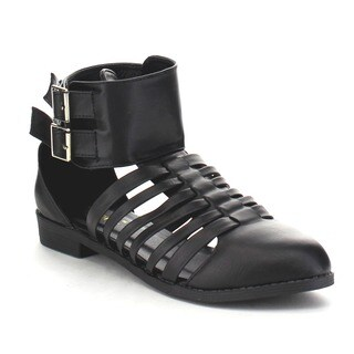 ATHENA FOXTER-2 Women's Strappy Cut Out Back Zipper Ankle Booties (As Is Item)