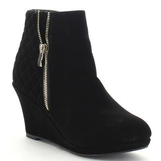 Top Moda BUMP-22 Women's Side Zipper Quilted Platform Wedge Ankle Booties